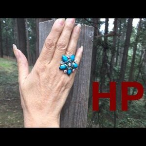 Jewelry - Floral statement ring turquoise and iridescent,HP